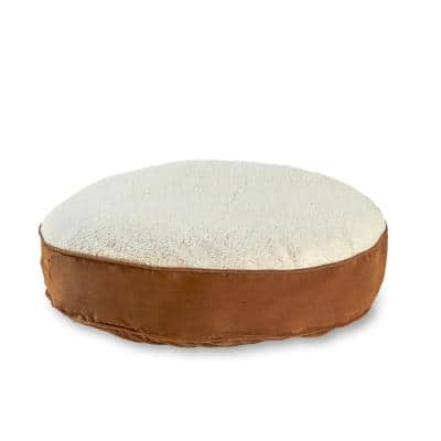 Scout Deluxe Round Extra-Small Latte Sherpa Dog Bed