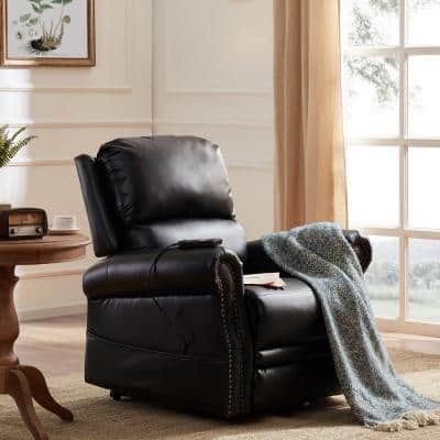 36 in. Width Big and Tall Black Faux Leather Nailhead Trim Lift Recliner