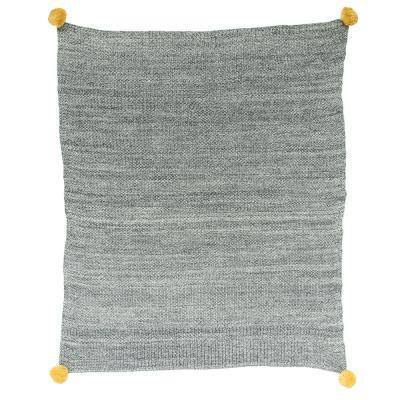 Grey Cotton Knit with Pom Poms Baby Blanket