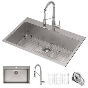 Loften Center All-in-One Dual Mount Stainless Steel 33in. Single Bowl Kitchen Sink with Stainless Steel Pull Down Faucet