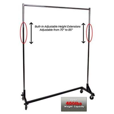 Black Z Metal Clothes Rack 63 in. W x 84 in
