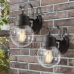 Greet 1-Light Modern Farmhouse Matte Black Outdoor Wall Lantern Sconce with Seeded Glass Shade (2-Pack)