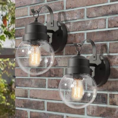 Greet 1-Light Matte Black Outdoor Wall Lantern Sconce with Seeded Glass Shade (2-Pack)