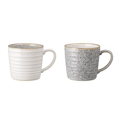 13.52 oz. Studio Grey/White Ridged Coffee Mug Set 2-Piece