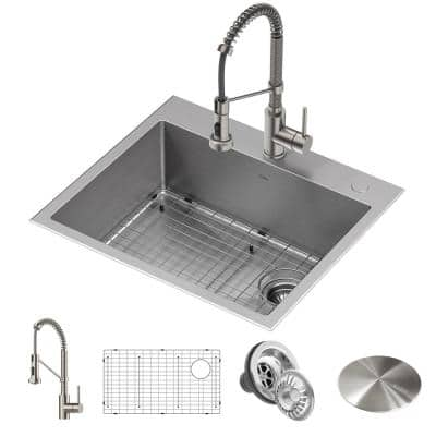 Loften All-in-One Dual Mount Stainless Steel 25in. Single Bowl Kitchen Sink with Pull Down Faucet in Spot Free Stainless