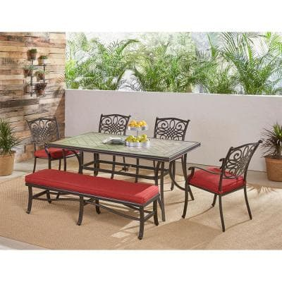 Monaco 6-Piece Aluminum Outdoor Dining Set with Red Cushions 4 Chairs, 1 Bench