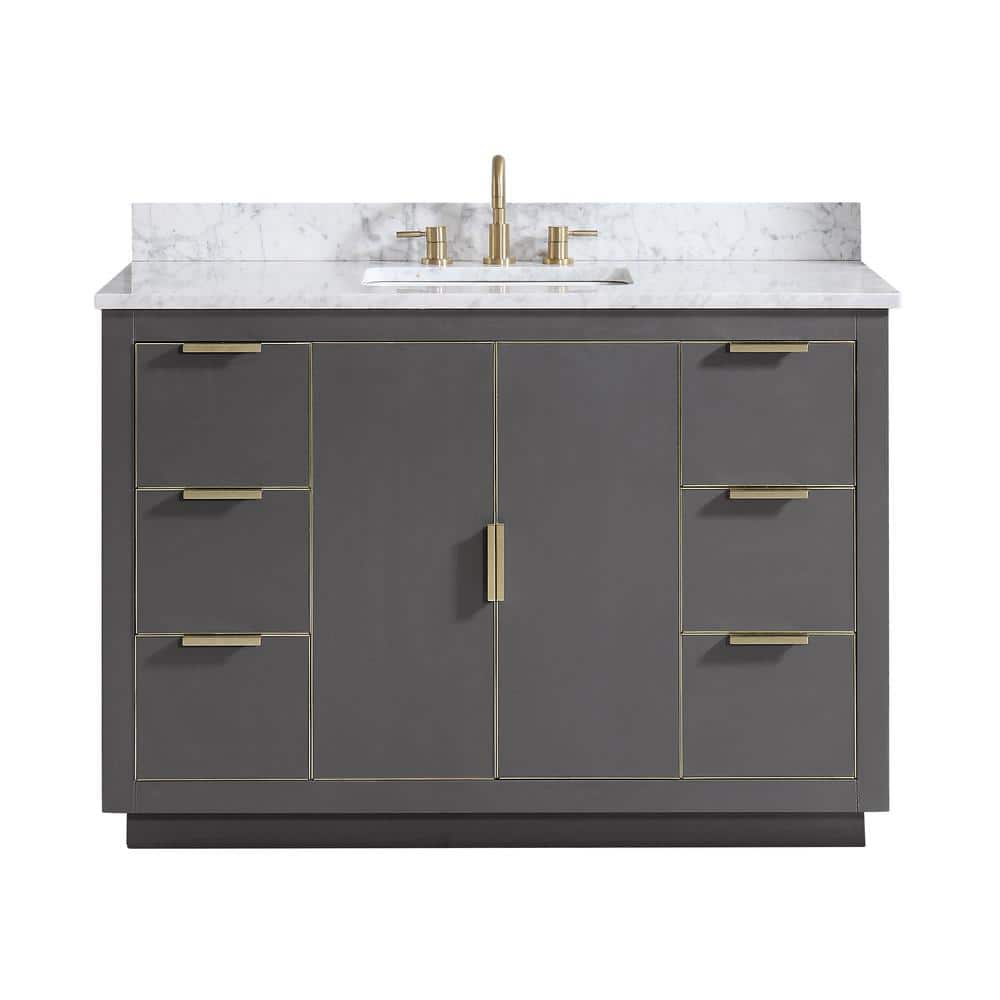 Avanity Austen 49 In W X 22 In D Bath Vanity In Gray With Gold Trim With Marble Vanity Top In Carrara White With Basin Astn Vs49 Tgg C The Home Depot