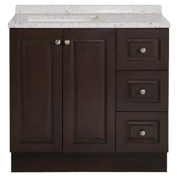 Glacier Bay Northwood 37 In W X 19 In D Bathroom Vanity In Dusk With Solid Surface Vanity Top In Silver Ash With White Sink Nw36p2 Dk The Home Depot