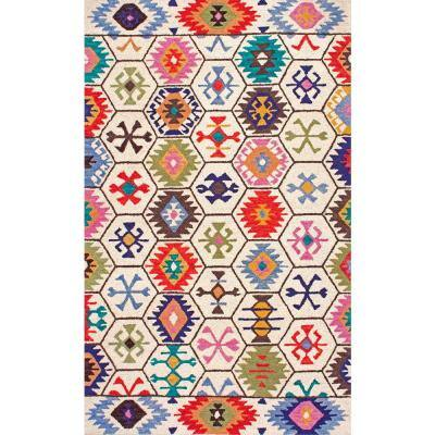 Giuseppina Tribal Bohemian Cream 9 ft. x 12 ft. Area Rug