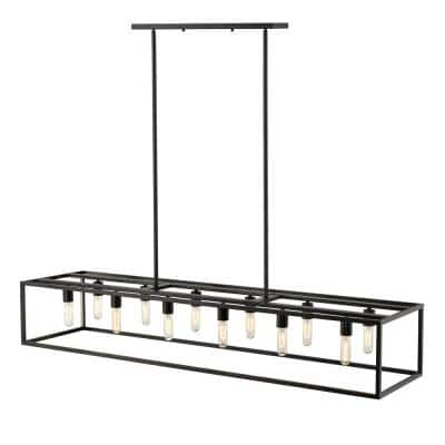 Cobar 12-Light Matte Black Island Pendant