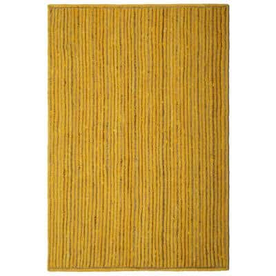 Jute and Yellow Cotton Racetrack 2 ft. 6 in. x 4 ft. 2 in. Accent Rug