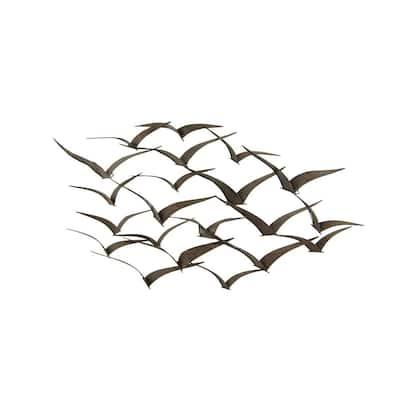 26 in. x 47 in. Black Metal Coastal Birds Wall Decor