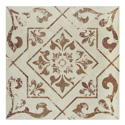 Retro 12 in. W x 12 in. L Villa Tan/Burgundy Peel and Stick Vinyl Tile Flooring (20 sq. ft./case)