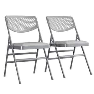 Gray Fabric Padded Seat Folding Chair (Set of 2)