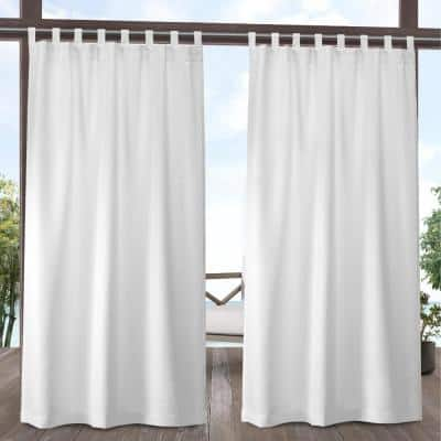 Winter White Solid Tab Top Room Darkening Curtain - 54 in. W x 96 in. L (Set of 2)