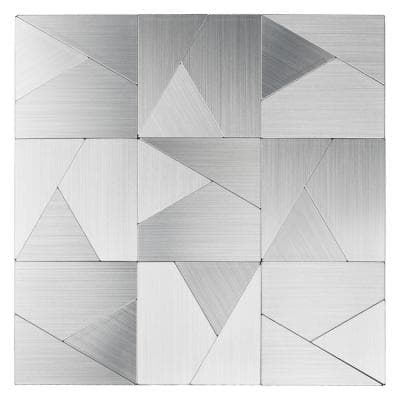 Triangle Jigsaw Silver 12 in. x 12 in. Stainless Steel Peel and Stick Tile Backsplash ( 9.7 sq ft. /pack)