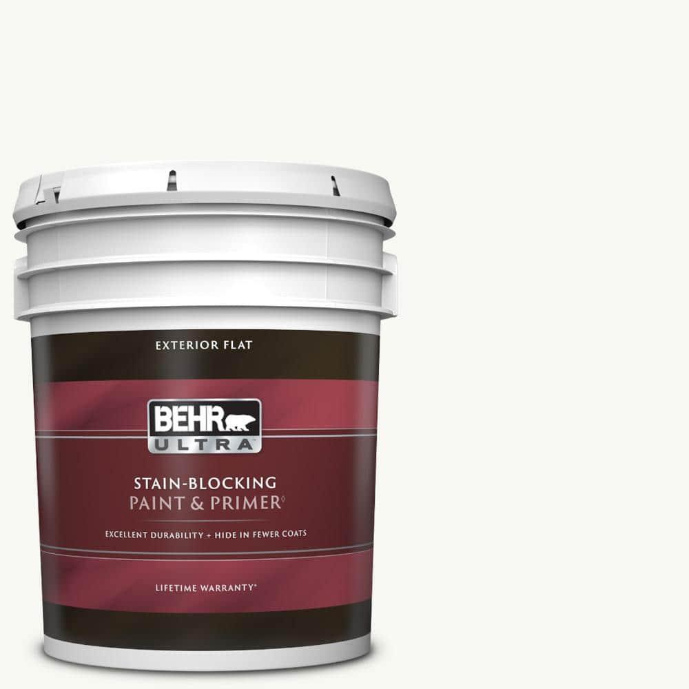 BEHR ULTRA 5 gal. #PPU18-06 Ultra Pure White Flat Exterior Paint & Primer