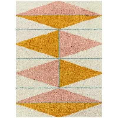 Levine Orange 8 ft. x 10 ft. Geometric Shag Area Rug