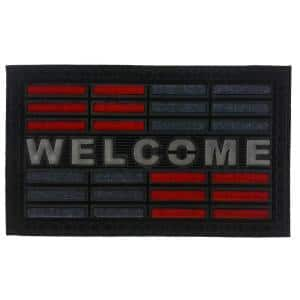 Synthetic Red Welcome 30 in. x 18 in. Rubber Door Mat