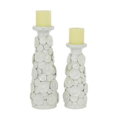 White Ceramic Candle Holder (Set of 2)