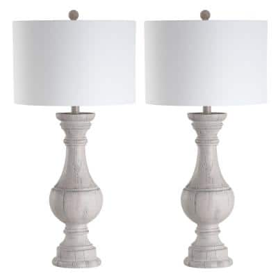 Savion 31.25 in. White Wash Curved Table Lamp with Off-White Shade (Set of 2)