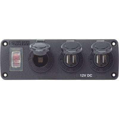 Water-Resistant Accessory Panel - 15A Circuit Breaker, 12V Socket, 2x 2.1A Dual USB Chargers