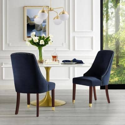 Cora Navy/Gold Velvet Metal Tip Leg Dining Chair (Set of 2)