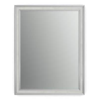23 in. W x 33 in. H (S2) Framed Rectangular Standard Glass Bathroom Vanity Mirror in Chrome and Linen