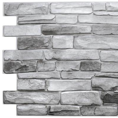 3D Falkirk Retro III 39 in. x 20 in. Grey Faux Stone PVC Decorative Wall Paneling (5-Pack)