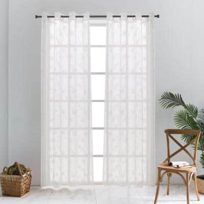 Lillian Sheer Curtain 52in.Wx95in.L in White
