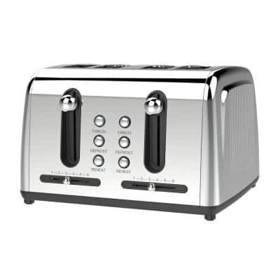 4-Slice Silver Extra Wide Slot Toaster