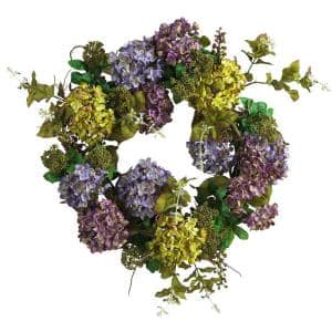 24 In. Mixed Hydrangea Silk Plant Wreath