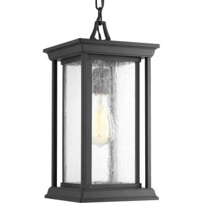Endicott Collection 1-Light Textured Black Clear Seeded Glass Craftsman Outdoor Hanging Lantern Light