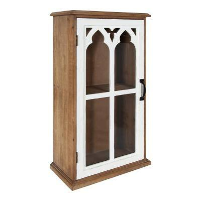 Mirabela 8 in. x 15 in. x 28 in. Rustic Brown/White Wood Floating Decorative Cubby Wall Shelf With Brackets
