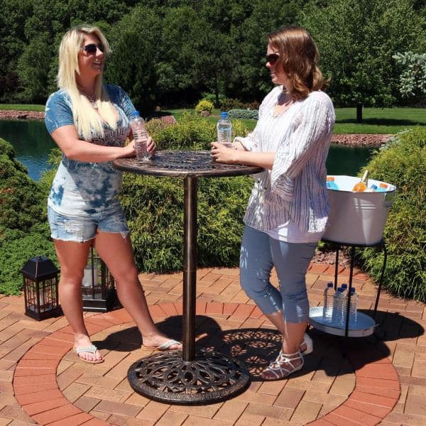 Sunnydaze Decor 40 In Cast Iron Bar, Outdoor Bar Height Pub Tables