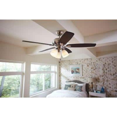 Rockport 52 in. Brushed Nickel LED Smart Ceiling Fan with Light and Remote Works with Google Assistant and Alexa