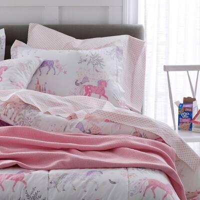 Prancing Unicorns Graphic Organic Cotton Percale Comforter