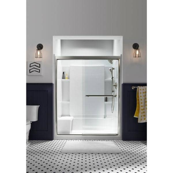 Sterling Accord 36 In X 60 In X 55 1 4 In 3 Piece Direct To Stud Complete Tub Shower Wall Set In White 71164100 0 The Home Depot