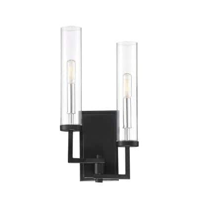 2-Light Matte Black with Polished Chrome Accents Sconce with Clear Glass