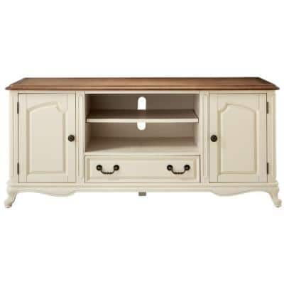 Provence Ivory TV stand with Ash Brown Top 60 in.
