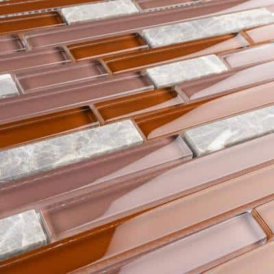 Tessera Piano Bordeaux 11-3/4 in. x 11-7/8 in. Glass and Stone Mosaic Tile (9.9 sq. ft./Case)