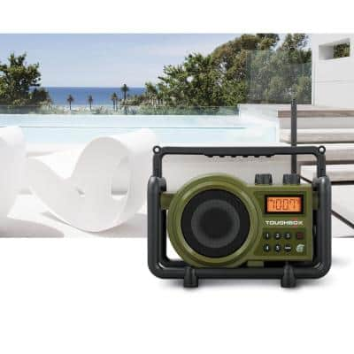 Compact AM/FM/Aux-In Ultra Rugged Rechargeable Digital Tuning Radio in Green