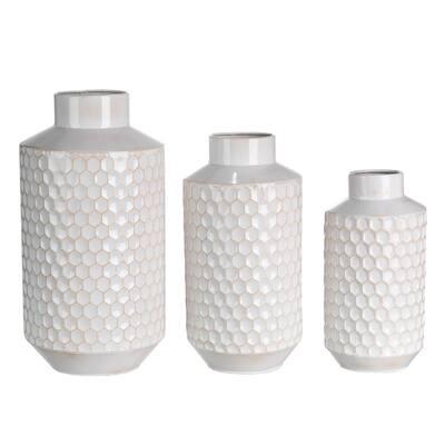 Set of 3 Farmhouse White Metal Vase