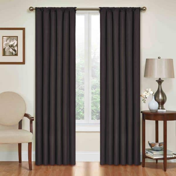 Eclipse Black Rod Pocket Blackout, Black And Brown Curtains