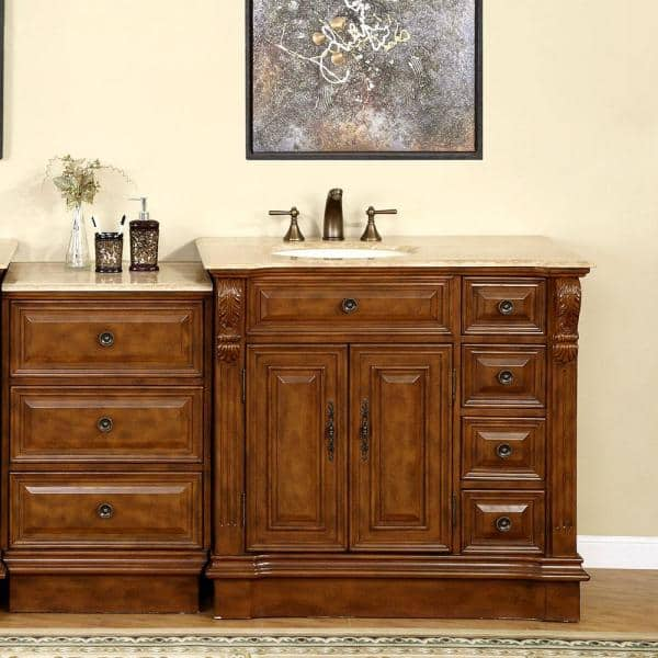 Silkroad Exclusive 58 In W X 22 In D Vanity In Walnut With Stone Vanity Top In Travertine With Ivory Basin Hyp0904tuic58l The Home Depot