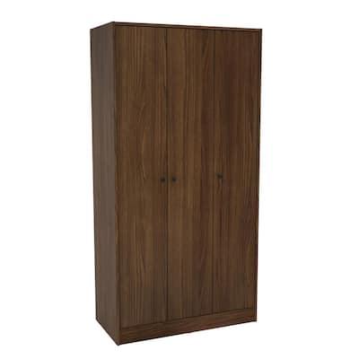 Dark Brown Armoire with 3-Doors/3-Shelves 70 in. H x 36 in. W x 17.5 in. D