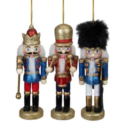 5 in. Glittery Assorted Classic Nutcracker Ornaments (Set of 3)