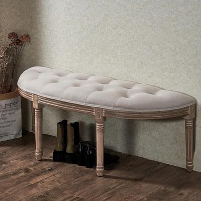Vintage Wood Half Moon Carved Upholstered Bench with Solid Wood Frame
