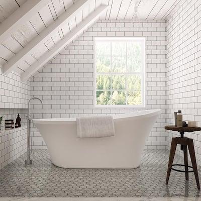 Aiden 70 in. L Acrylic Single Slipper Flatbottom Non-Whirlpool Bathtub in White