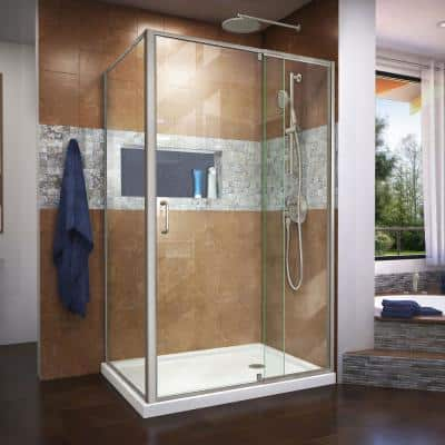 Flex 48 in. x 72 in. Semi-Frameless Pivot Shower Door in Brushed Nickel Finish with 48 in. x 36 in. Base in White